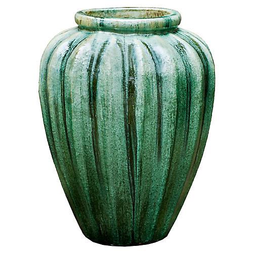 "28"" Edo Outdoor Jar, Celadon Pearl"