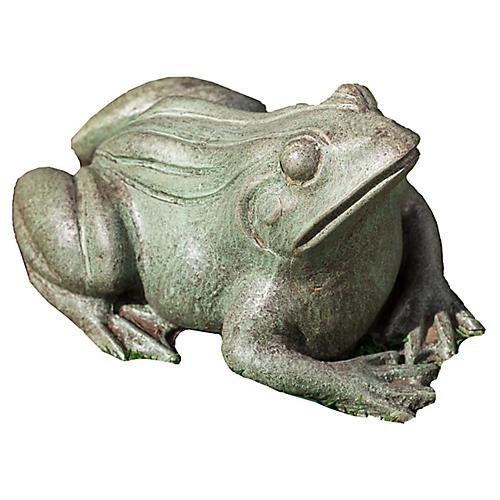 """11"""" Woodland Frog Outdoor Statue, Copper/Bronze"""