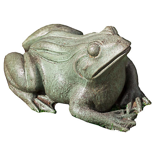 "11"" Woodland Frog Outdoor Statue, Copper/Bronze"