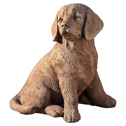 "15"" Golden Retriever Puppy Statue, Travertine"