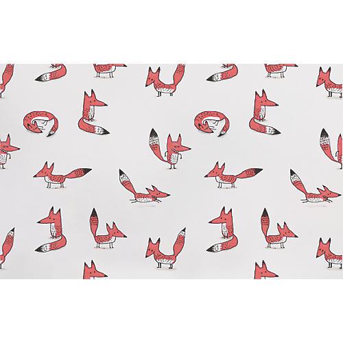 Fox Wallpaper, White/Multi
