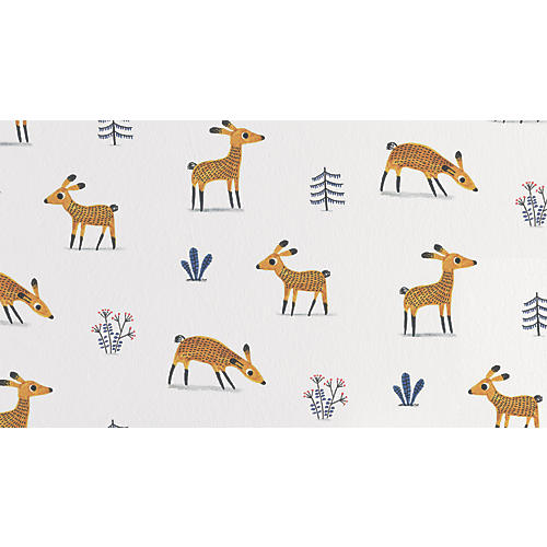 Deer Wallpaper, White/Multi