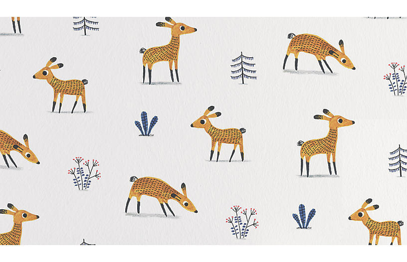 Deer Wallpaper, White/Multi