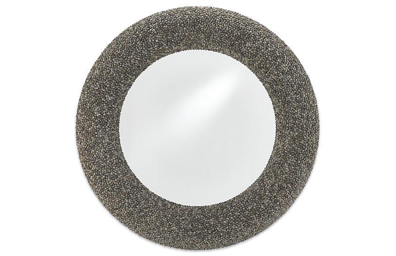 Batad Shell Round Mirror, Natural