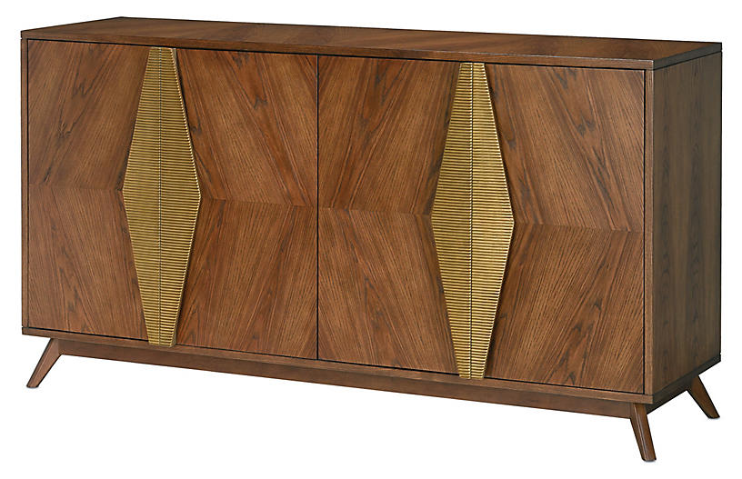 Arren Credenza, Dark Chestnut/Antique Brass