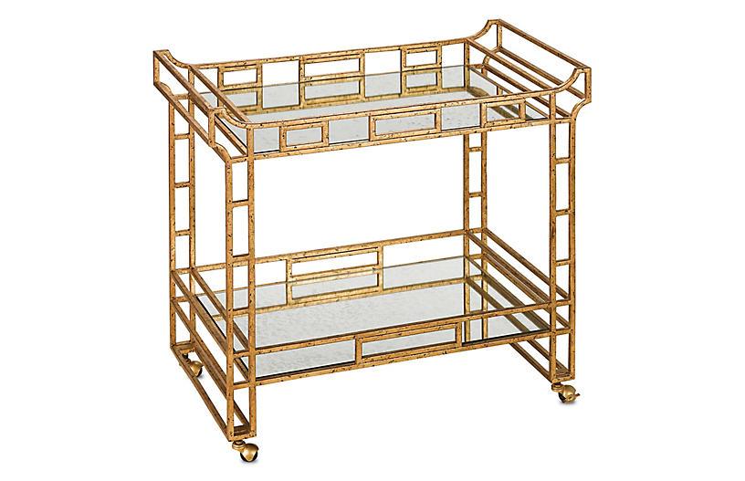 Odeon Bar Cart, Seneca Gold Leaf/Antique Mirror