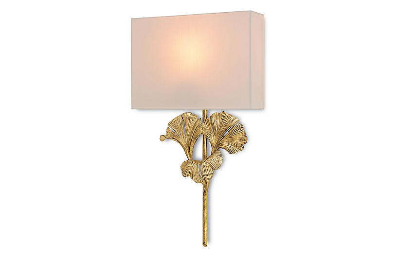 Gingko Gold Wall Sconce, Gold Leaf/Off-White