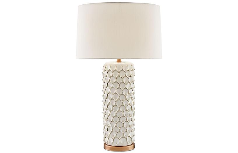 Calla Lily Table Lamp, Cream/Antique Brass
