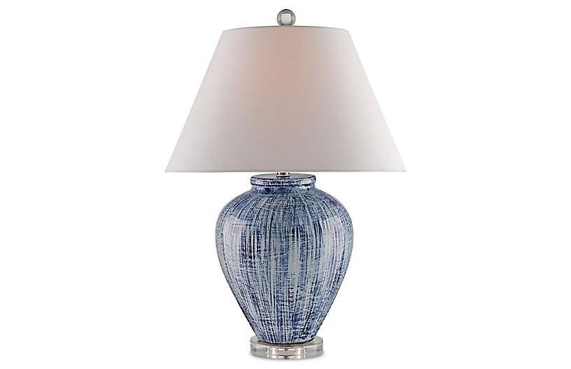 Malaprop Table Lamp, Blue/White