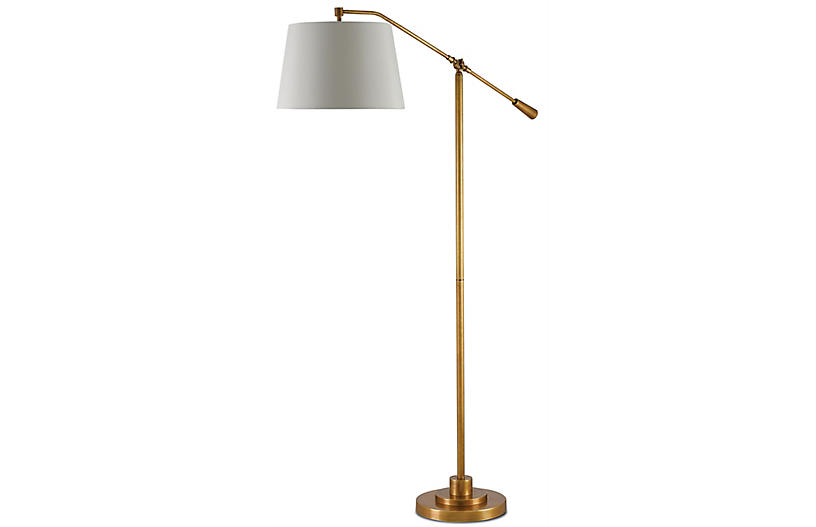 Maxstoke Floor Lamp, Antique Brass/Beige