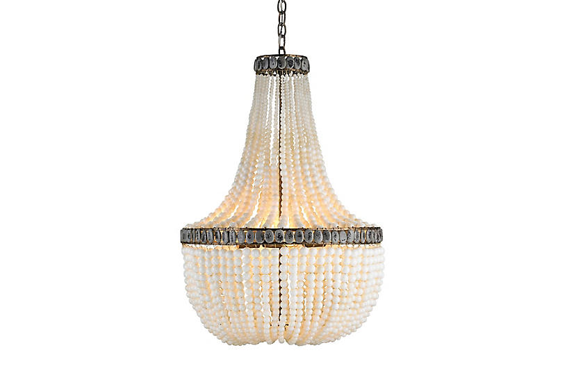 Hedy Chandelier, Cream/Gray
