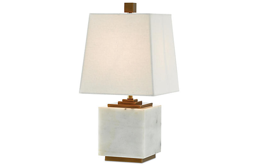 Annelore Table Lamp, White/Antique Brass