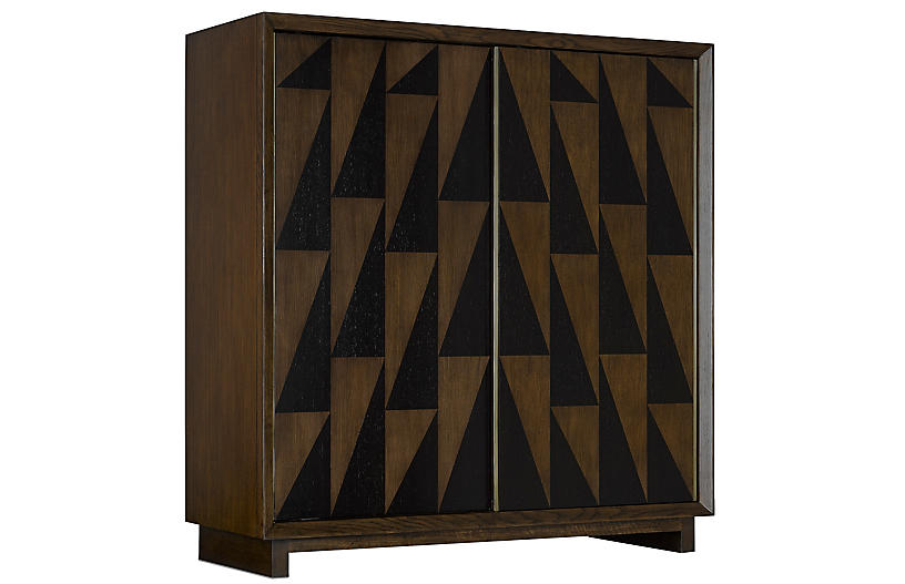 Leiden Cabinet, Dark Pecan/Wenge/Brass