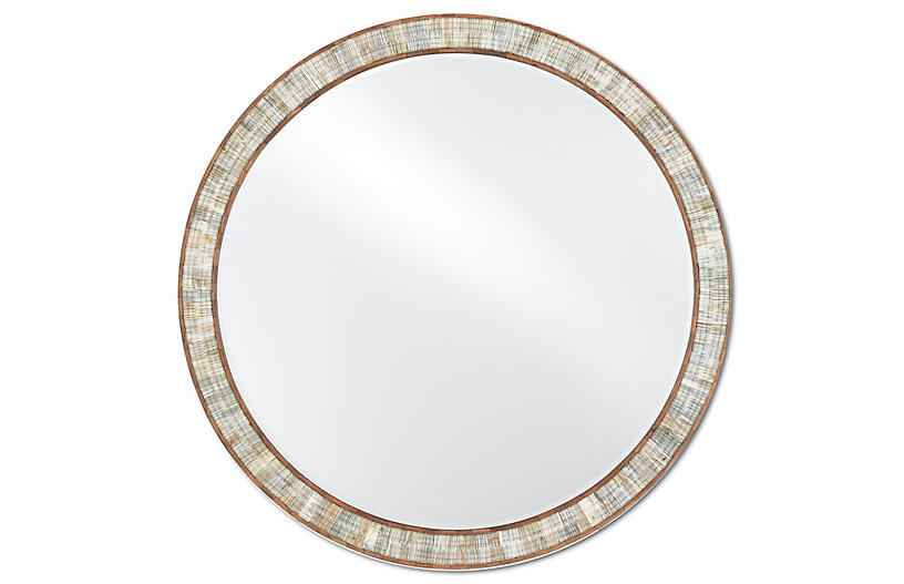 Hyson Round Mirror, Natural