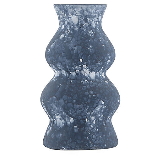 Large Phonecian Phonecian Vase, Navy/White