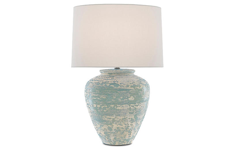 Mimi Table Lamp, Aqua/Cream