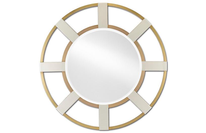 Camille Round Mirror, Cream/Brushed Brass