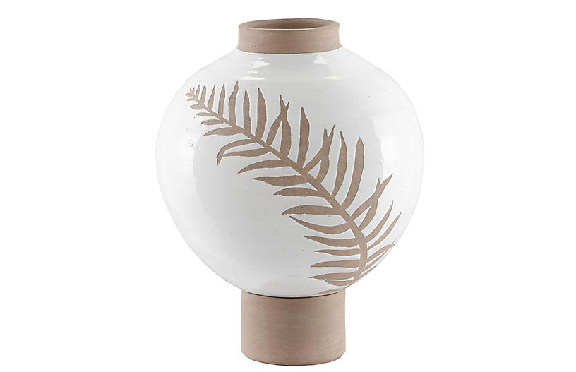 Large Fern Vase, White/Tan