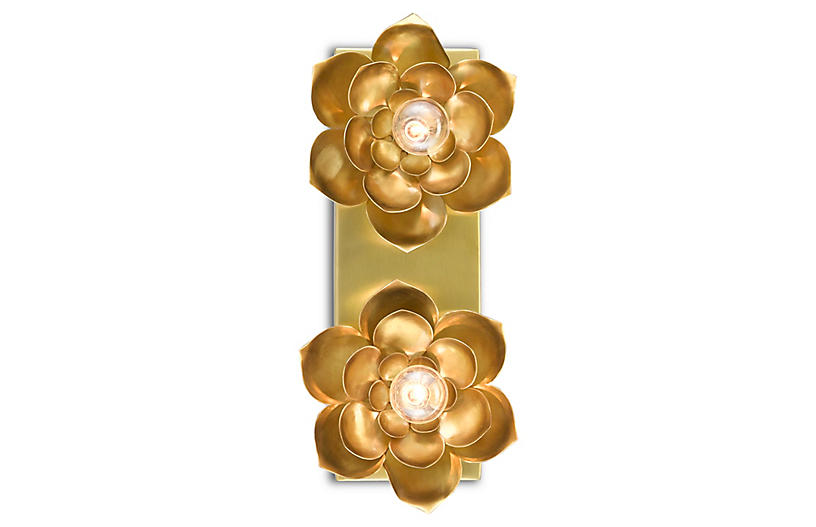 Blossom Two-Light Wall Sconce, Satin Brass