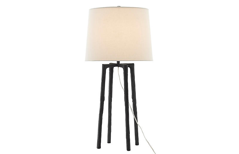 Rowan Table Lamp, Charcoal/Off-White