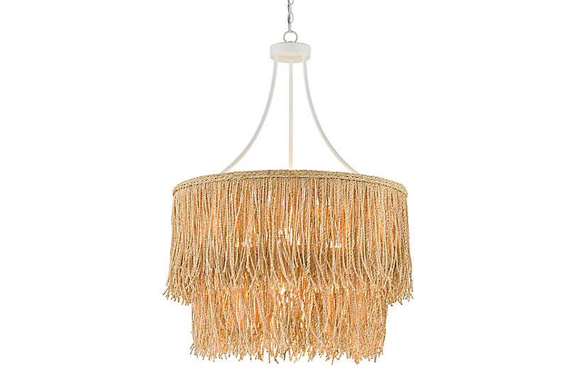 Samoa Two-Tiered Rope Chandelier, White/Natural