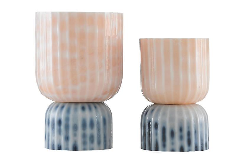 S/2 Palazoo Vase, Milk White/Pink/Blue