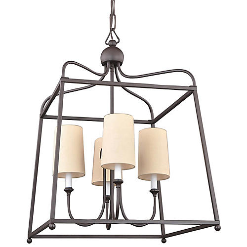 Sylvan 4-Light w/ Shade Chandelier, Dark Bronze