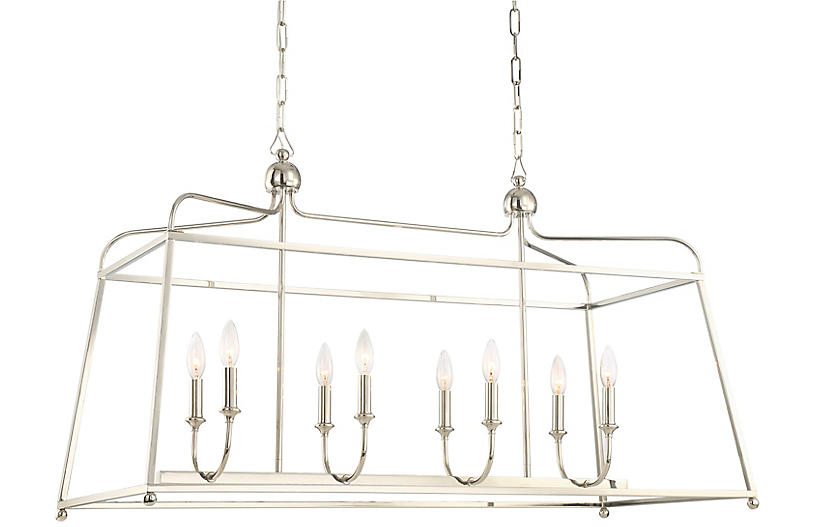 Sylvan 8-Light Chandelier, Polished Nickel