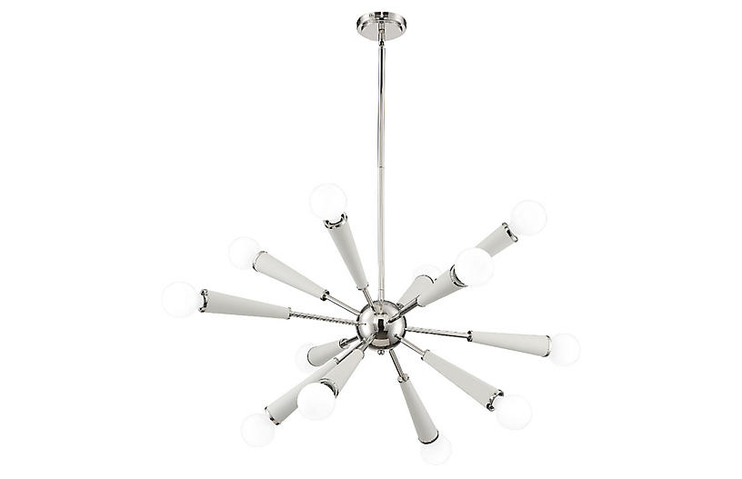 Zodiac 12-Light Chandelier, Nickel/White