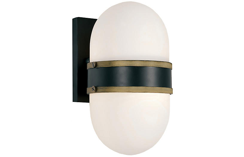 Capsule Outdoor Sconce, Black/Gold