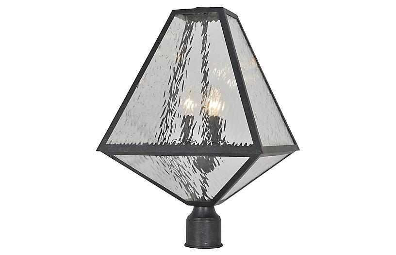 Glacier 3-Light Post Lamp, Black Charcoal