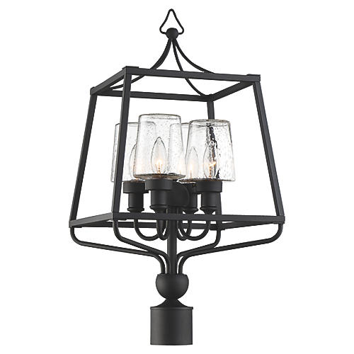Sylvan Outdoor Seeded Post Lamp, Black Forged