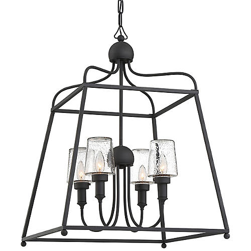 Sylvan Outdoor Chandelier, Black Forged