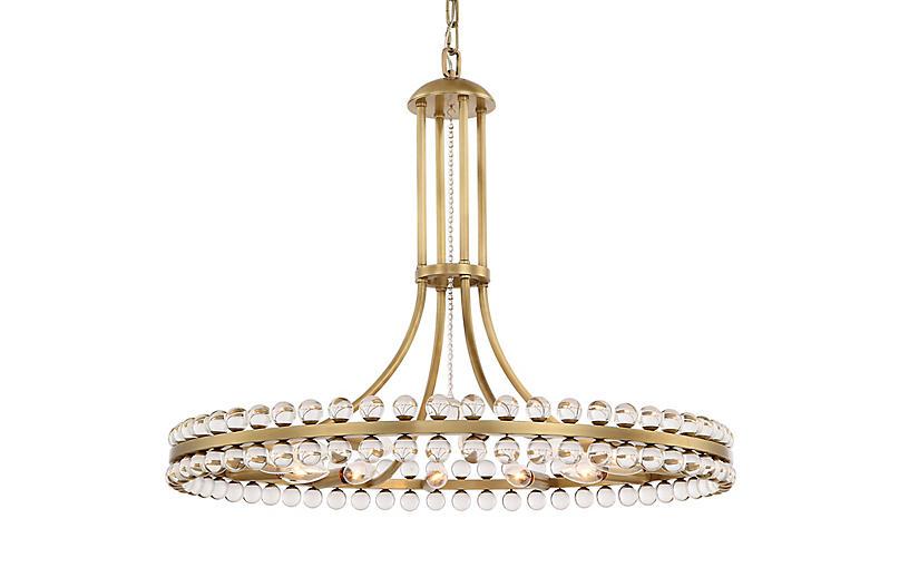 Clover 12-Light Chandelier, Aged Brass