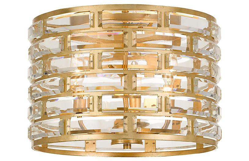 Meridian 3-Light Flush Mount, Antiqued Gold