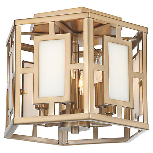 Hillcrest 6-Light Flush Mount, Vibrant Gold