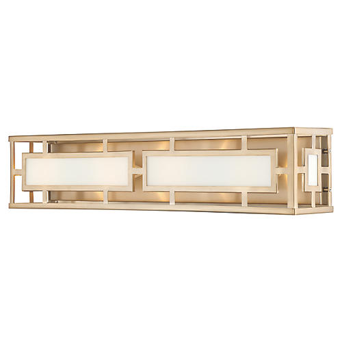 Hillcrest 4-Light Bath Bar, Vibrant Gold
