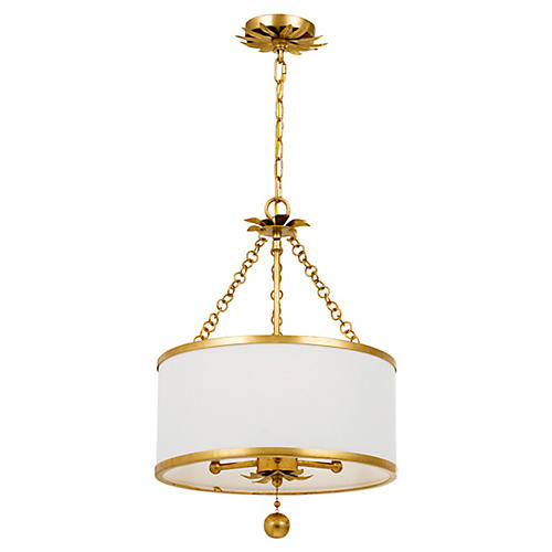Broche 3-Light Chandelier, Antiqued Gold