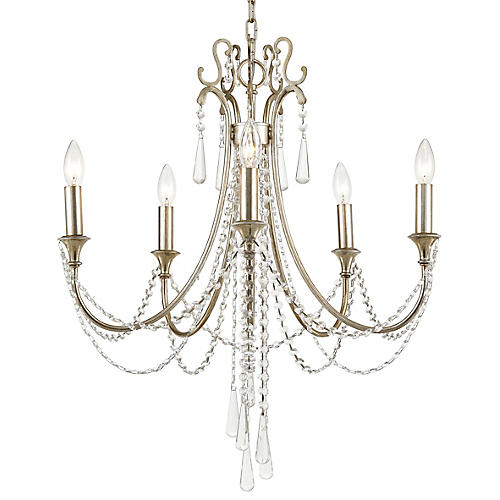 Arcadia Chandelier, Antiqued Silver