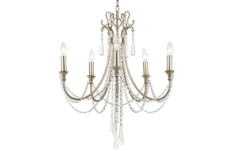 Arcadia Chandelier, Antiqued Silver