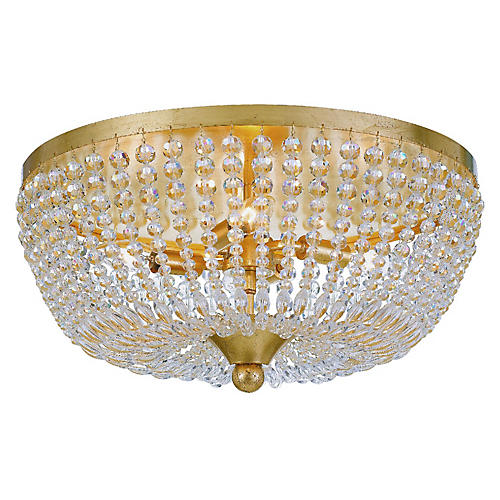Rylee Flush Mount, Antiqued Gold