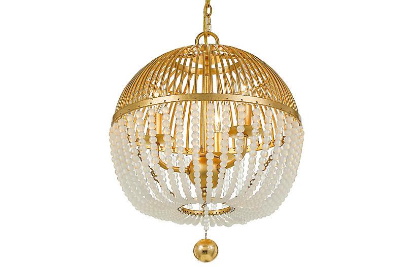 Duval Chandelier, Antiqued Gold