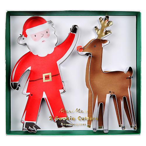 Santa & Reindeer Cookie Cutters, Silver