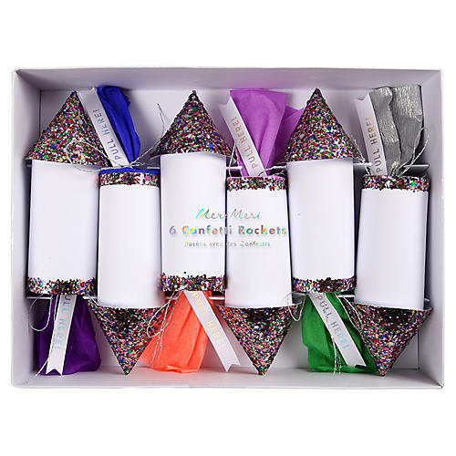 Rainbow Confetti Rockets, White/Multi