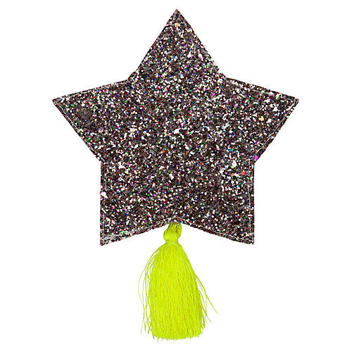 Glitter Star Pouch, Silver/Yellow