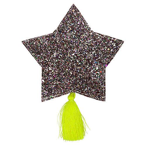 Glitter Star Pouch, Silver/Yellow