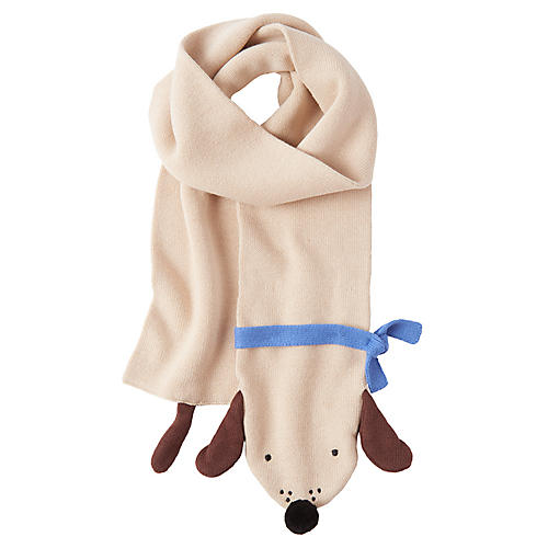 Knit Kids' Doggy Scarf, Tan/Blue