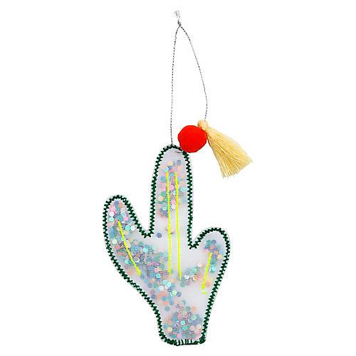 Cactus Shaker Ornament, Mint/Multi