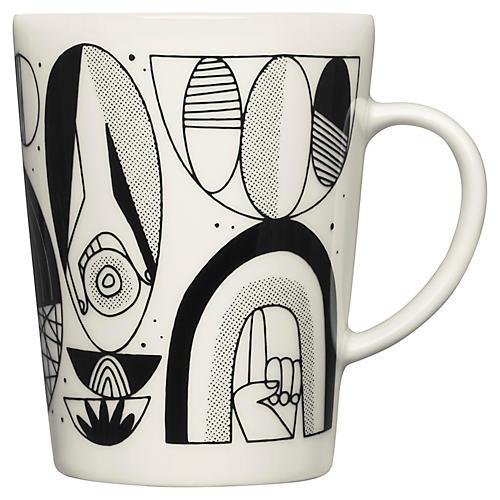Shaped Mug, White/Black
