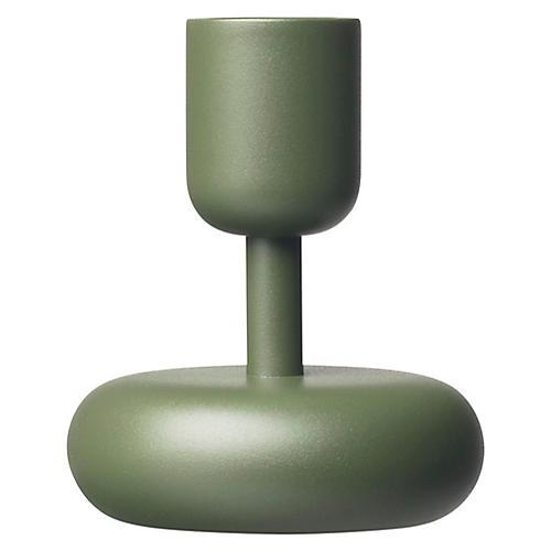 "4"" Nappula Small Candleholder, Moss Green"
